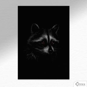 Placa Decorativa Série Animais Black ( Guaxinim ) A4 MDF 3mm 30X20CM 4x0 Adesivo Fosco Corte Reto Fita Dupla Face 3M