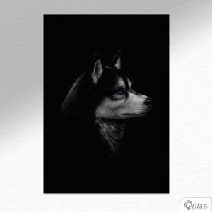 Placa Decorativa Série Animais Black ( Husky Siberiano ) A4 MDF 3mm 30X20CM 4x0 Adesivo Fosco Corte Reto Fita Dupla Face 3M