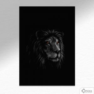 Placa Decorativa Série Animais Black ( Leão ) A4 MDF 3mm 30X20CM 4x0 Adesivo Fosco Corte Reto Fita Dupla Face 3M