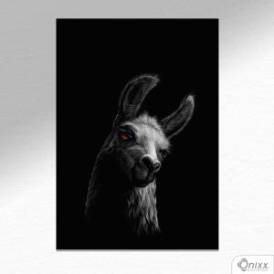 Placa Decorativa Série Animais Black ( Lhama ) A4 MDF 3mm 30X20CM 4x0 Adesivo Fosco Corte Reto Fita Dupla Face 3M
