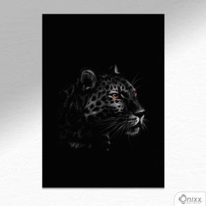 Placa Decorativa Série Animais Black ( Onça ) A4 MDF 3mm 30X20CM 4x0 Adesivo Fosco Corte Reto Fita Dupla Face 3M