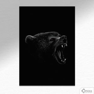 Placa Decorativa Série Animais Black ( Urso ) A4 MDF 3mm 30X20CM 4x0 Adesivo Fosco Corte Reto Fita Dupla Face 3M