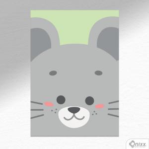 Placa Decorativa Série Animais Em Destaque ( Ratinho ) A4 MDF 3mm 30X20CM 4x0 Adesivo Fosco Corte Reto Fita Dupla Face 3M