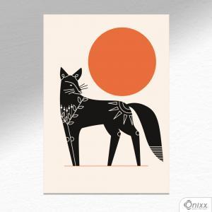 Placa Decorativa Série Natureza Artística ( Fox ) A4 MDF 3mm 30X20CM 4x0 Adesivo Fosco Corte Reto Fita Dupla Face 3M