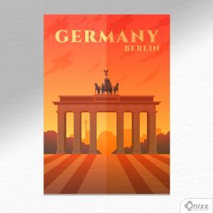 Placa Decorativa Série Pôster Berlin A4 MDF 3mm 30X20CM 4x0 Adesivo Fosco Corte Reto Fita Dupla Face 3M