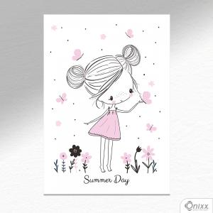 Placa Decorativa Sweet Girl Summer Day A4 MDF 3mm 30X20CM 4x0 Adesivo Fosco Corte Reto Fita Dupla Face 3M