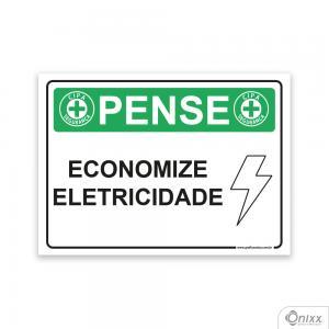 Placa Pense: Economize Eletricidade PVC 2mm  4/0 / Látex Adesivo Fosco Corte Reto Fita Dupla Face 3M
