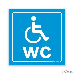 Placa Reservado Para Deficientes ( WC ) Azul PVC 1mm  4/0 / Látex Adesivo Fosco Corte Reto Fita Dupla Face 3M