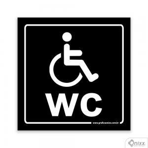 Placa Reservado Para Deficientes ( WC ) PB PVC 1mm  4/0 / Látex Adesivo Fosco Corte Reto Fita Dupla Face 3M