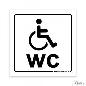 Placa Reservado Para Deficientes ( WC ) PVC 1mm  4/0 / Látex Adesivo Fosco Corte Reto Fita Dupla Face 3M