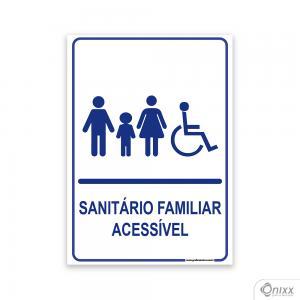Placa Sanitário Familiar Acessível PVC 2mm  4/0 / Látex Adesivo Fosco Corte Reto Fita Dupla Face 3M