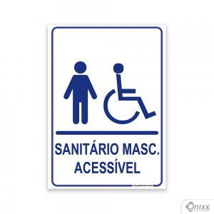 Placa Sanitário MASC. Acessível PVC 2mm  4/0 / Látex Adesivo Fosco Corte Reto Fita Dupla Face 3M