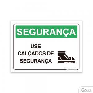 Placa SEGURANÇA: Use Calçados De Segurança PVC 2mm  4/0 / Látex Adesivo Fosco Corte Reto Fita Dupla Face 3M