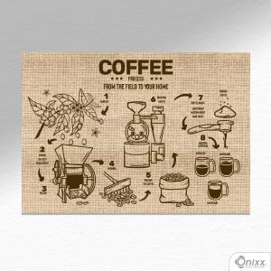 Placa Decorativa Processo de Café A4 MDF 3mm 30X20CM 4x0 Adesivo Fosco Corte Reto Fita Dupla Face 3M