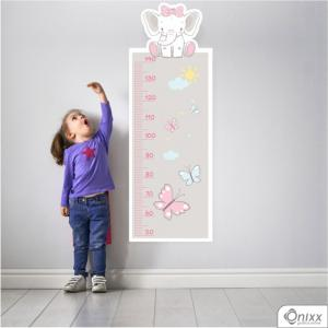 Régua de Crescimento Elefante Rosa Adesivo Vinil 0,10  4x0 | Impressão Digital - Látex Fosco Corte 100% Digital