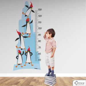 Régua de Crescimento Pinguins Adesivo Vinil 0,10  4x0 | Impressão Digital - Látex Fosco Corte 100% Digital