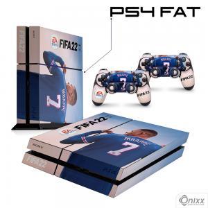 Skin Ps4 Fat Adesiva Fifa 22 + Pôster A3 Adesivo Vinil Americano 10µ  4x0 Brilho Corte Eletrônico