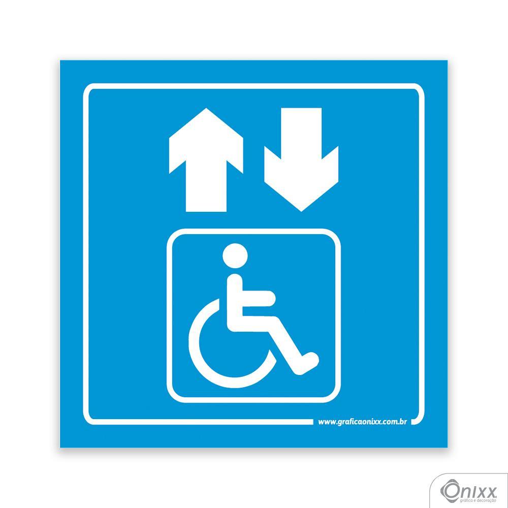 Placa Acesso Para Deficientes ( Elevador ) Azul