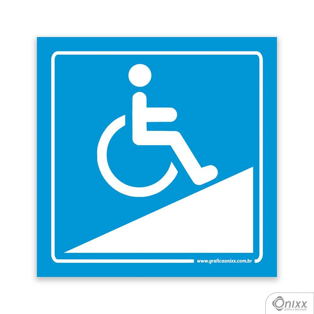 Placa Acesso Para Deficientes ( Rampa ) Azul
