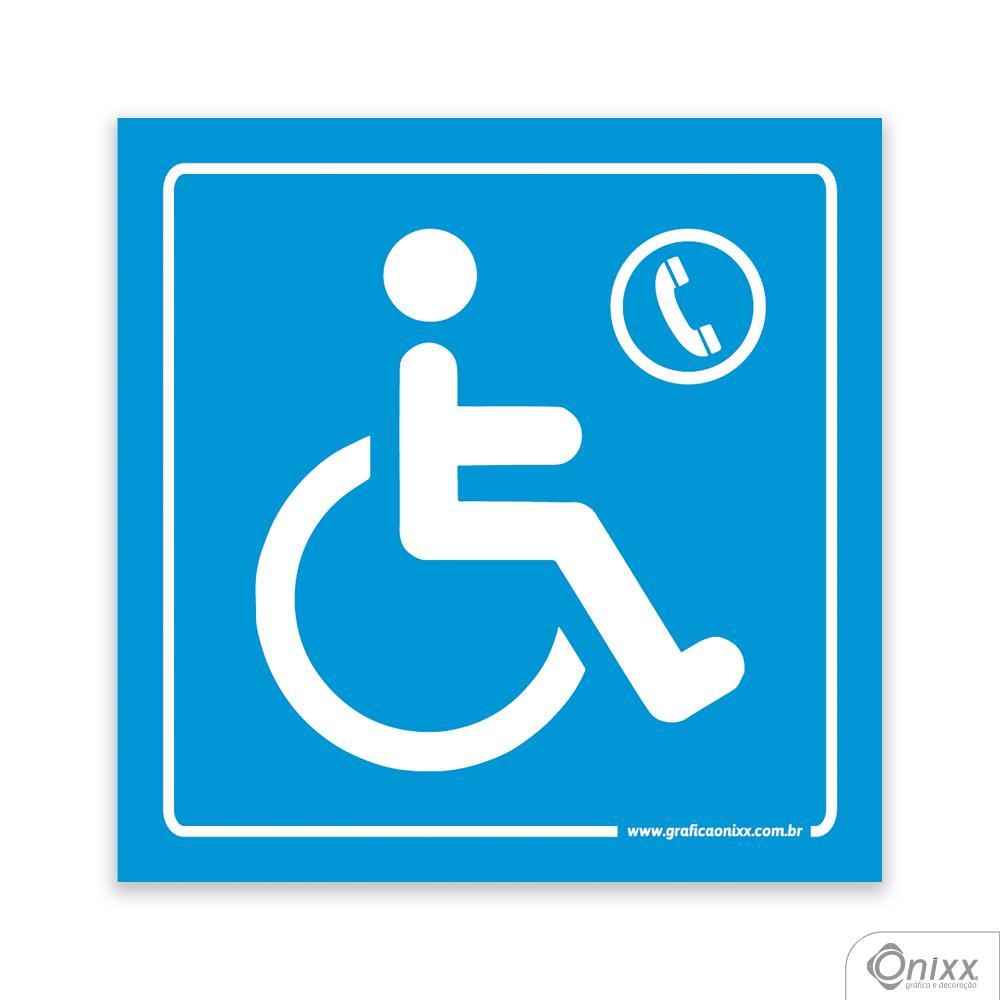 Placa Acesso Para Deficientes ( Telefone ) Azul