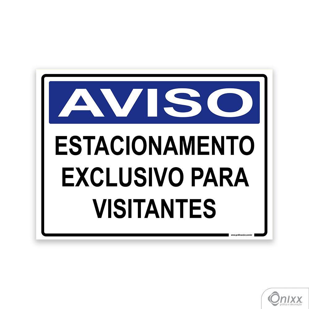 Placa Aviso Estacionamento Exclusivo Para Visitantes