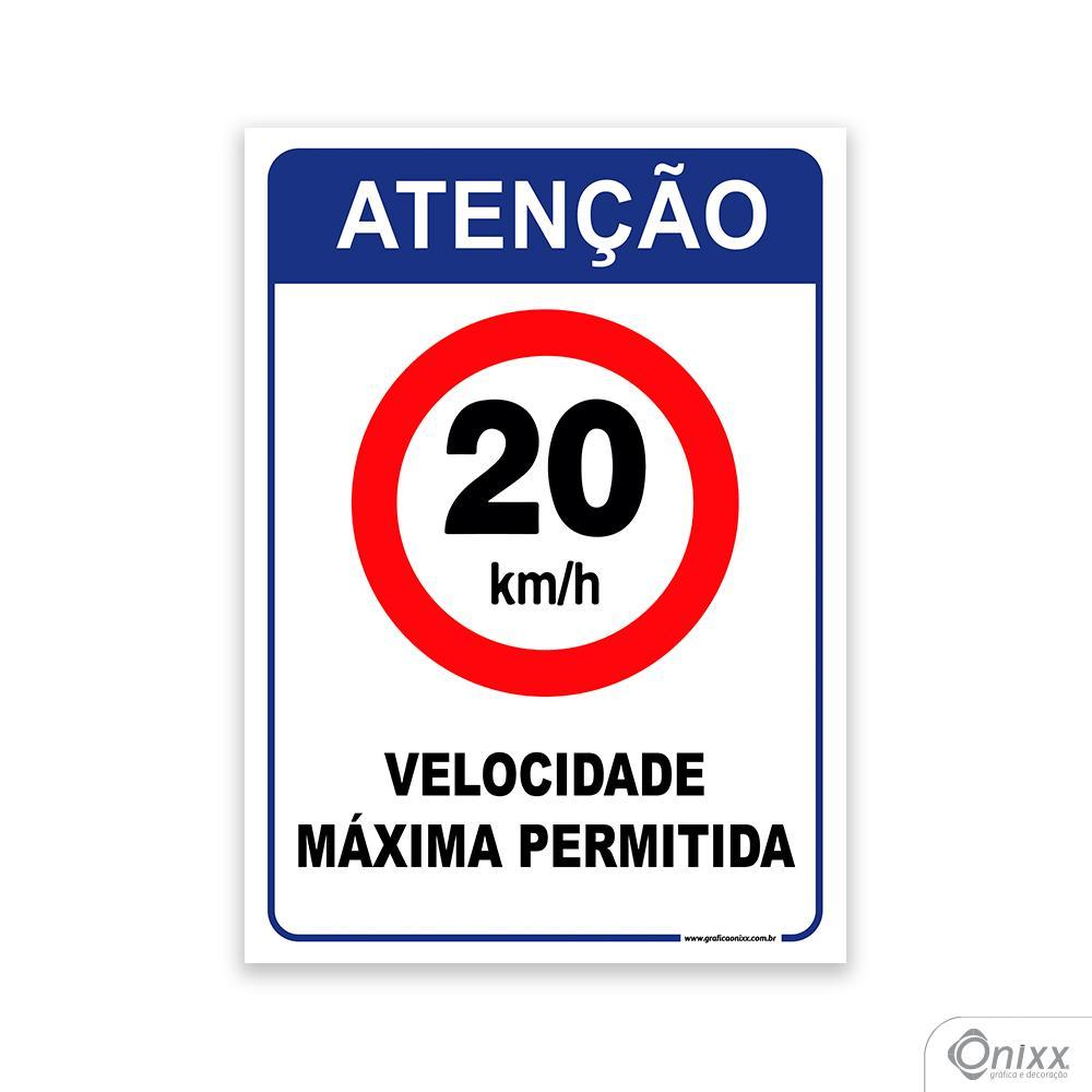 Placa de Atenção para Velocidade Máxima 20 Km/h