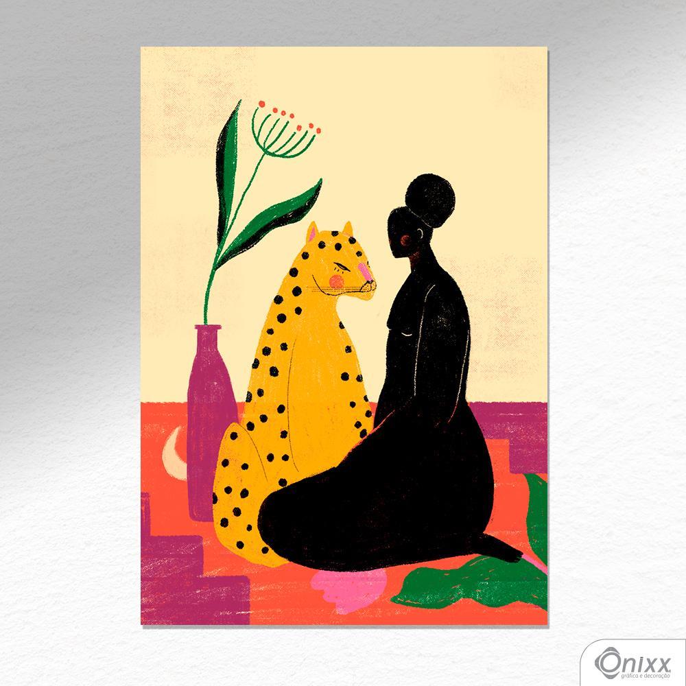 Placa Decorativa A Mulher e a Onça A4