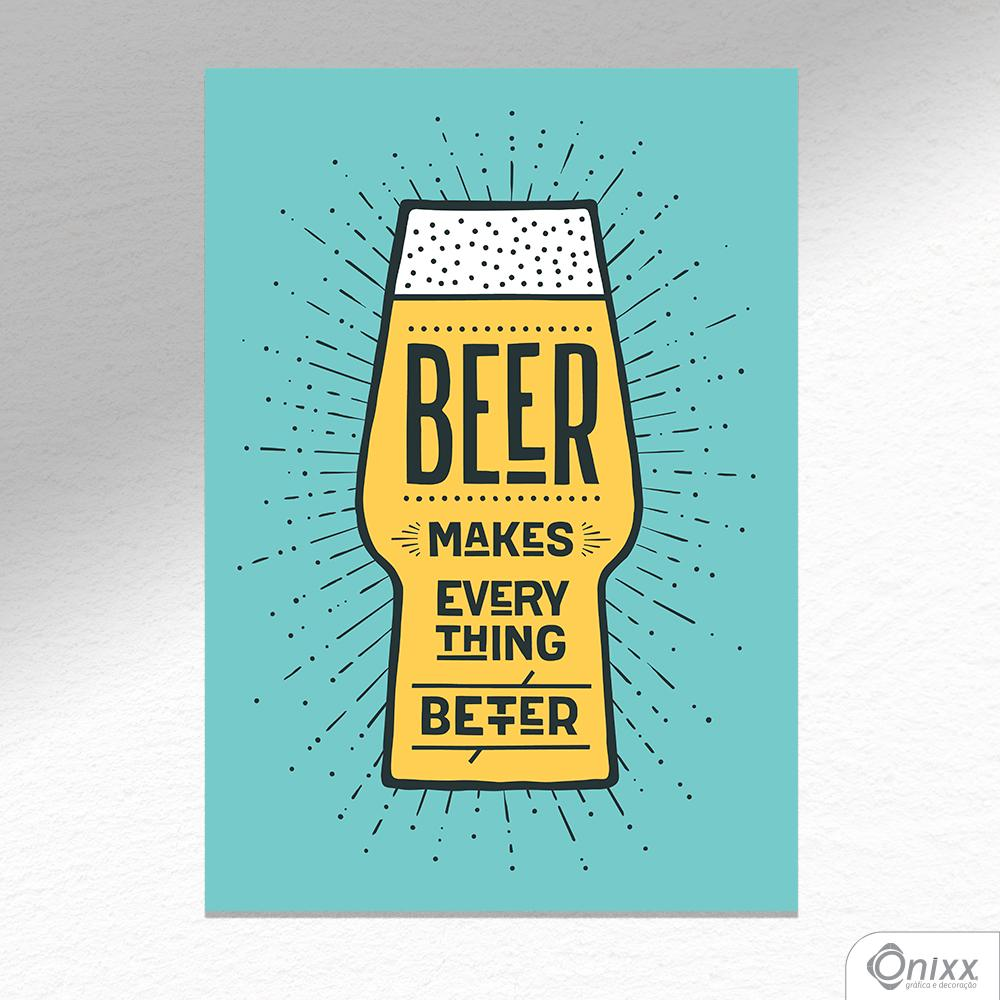 Placa Decorativa Beer Makes Better Color A4