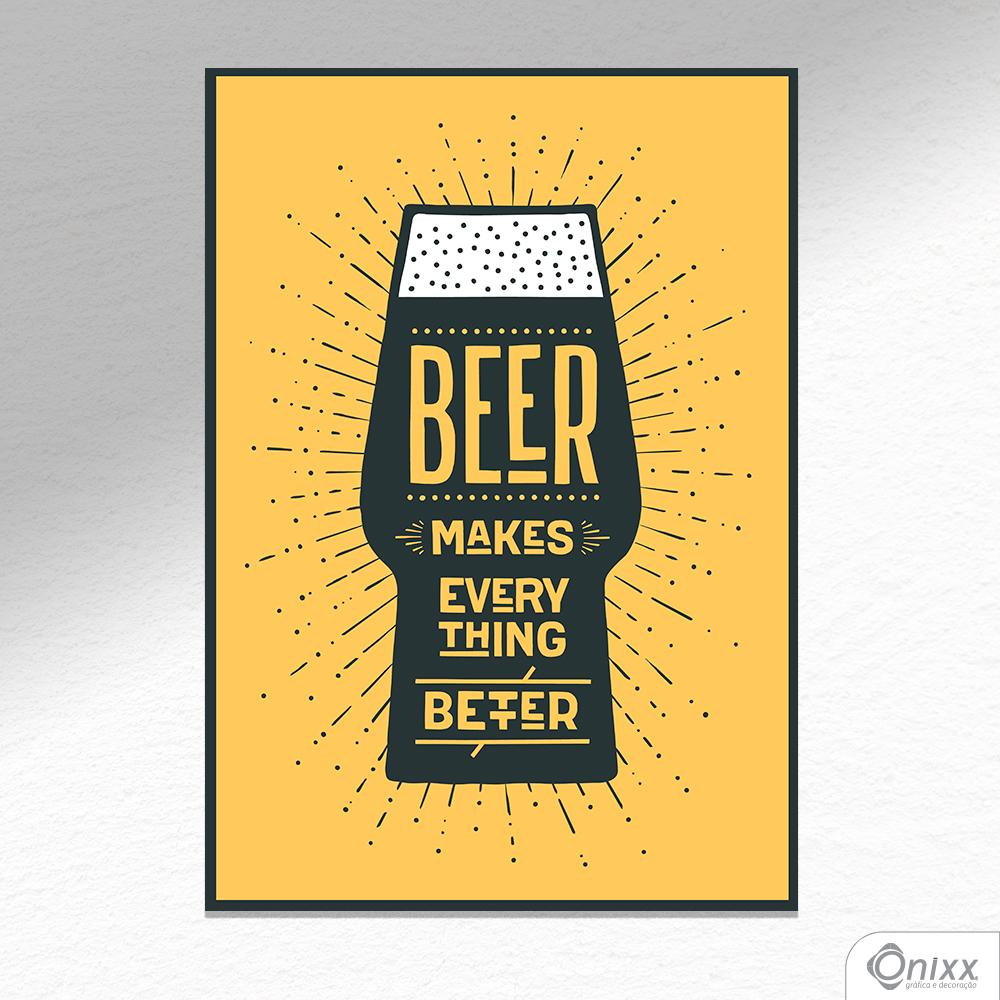 Placa Decorativa Beer Makes Better In Yellow A4