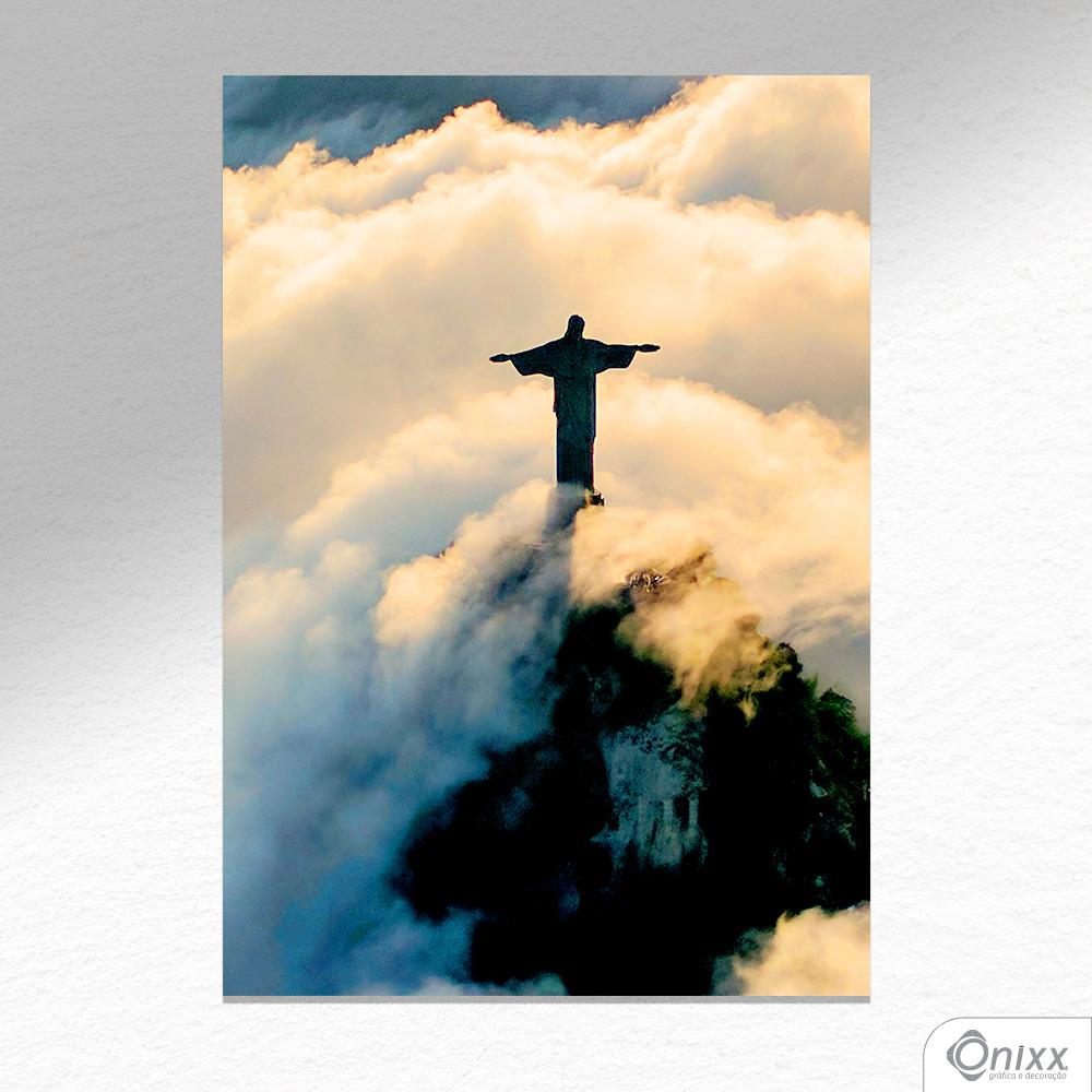 Placa Decorativa Cristo Redentor Entre Nuvens A4