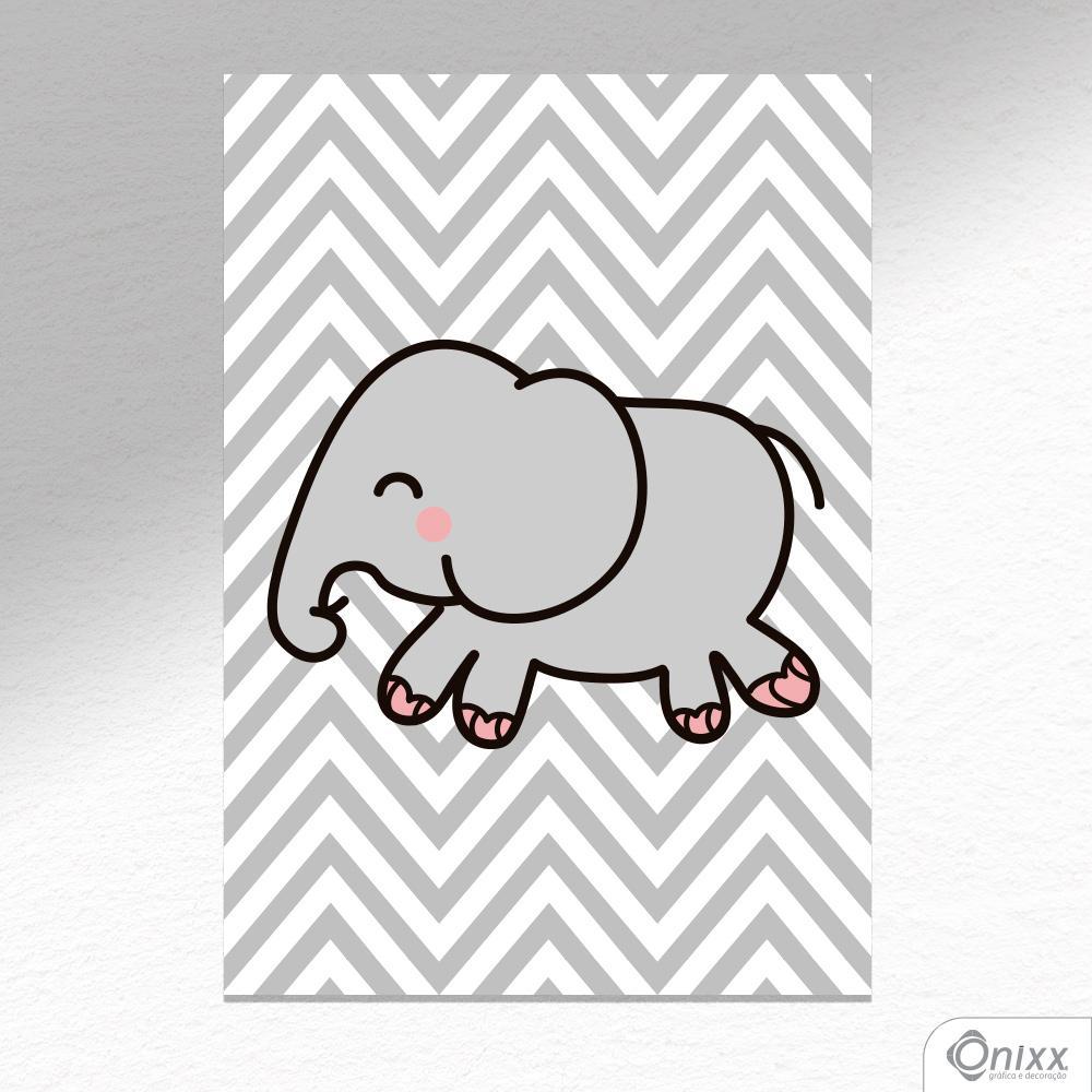 Placa Decorativa Elefante Chevron A4