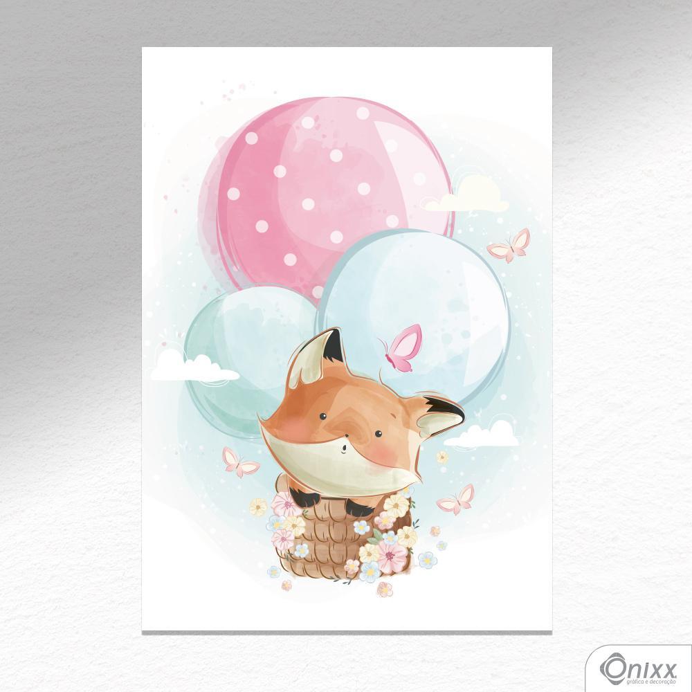 Placa Decorativa Fox Flying Balloon A4