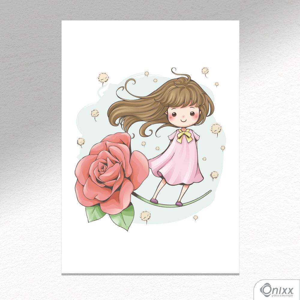 Placa Decorativa Menina na Rosa A4