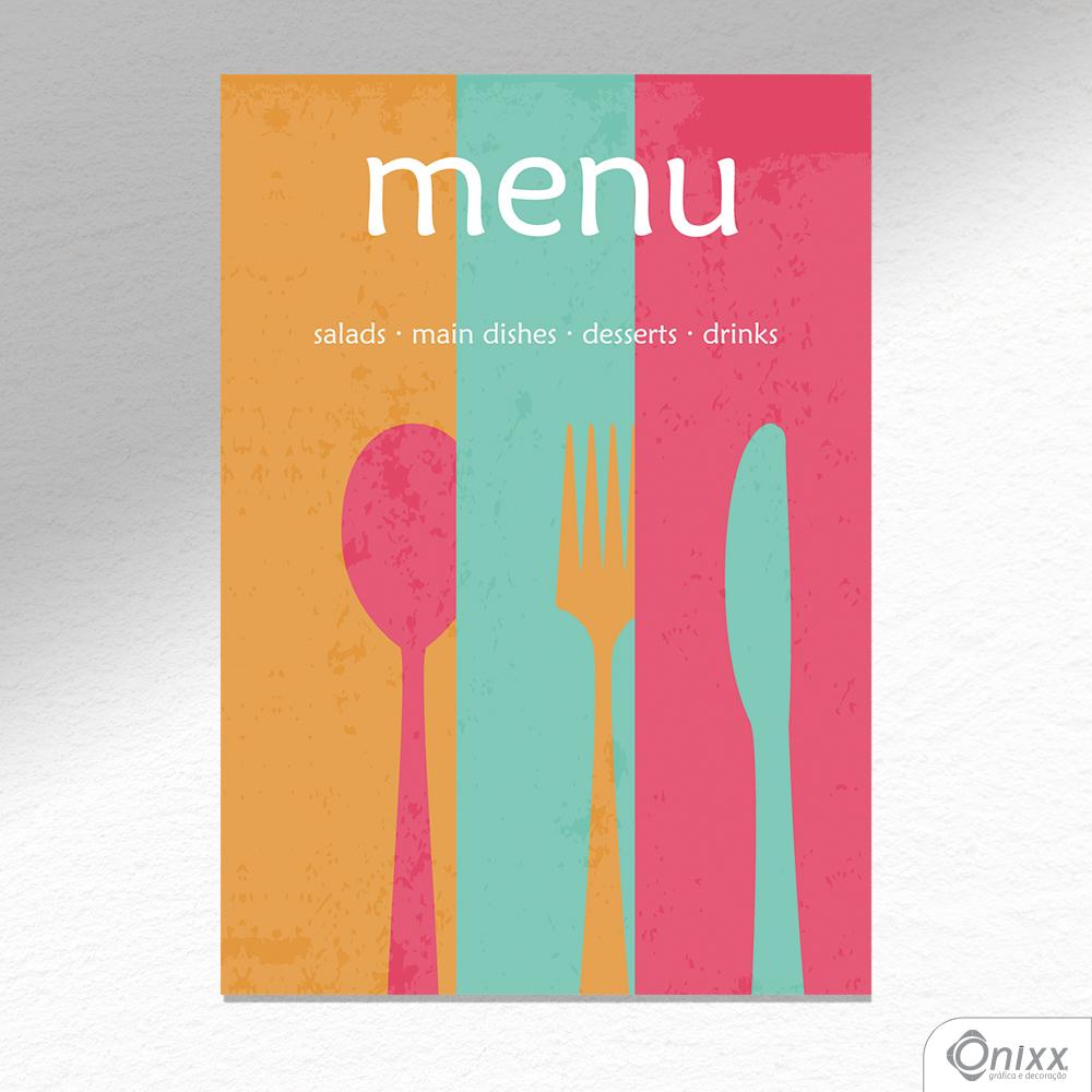 Placa Decorativa Menu Vintage A4
