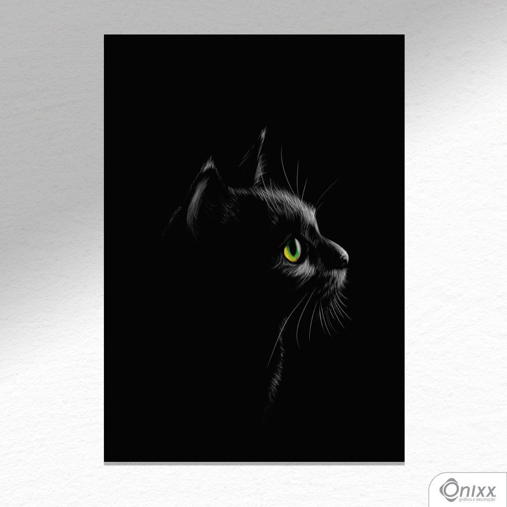 Placa Decorativa Série Animais Black ( Gato ) A4