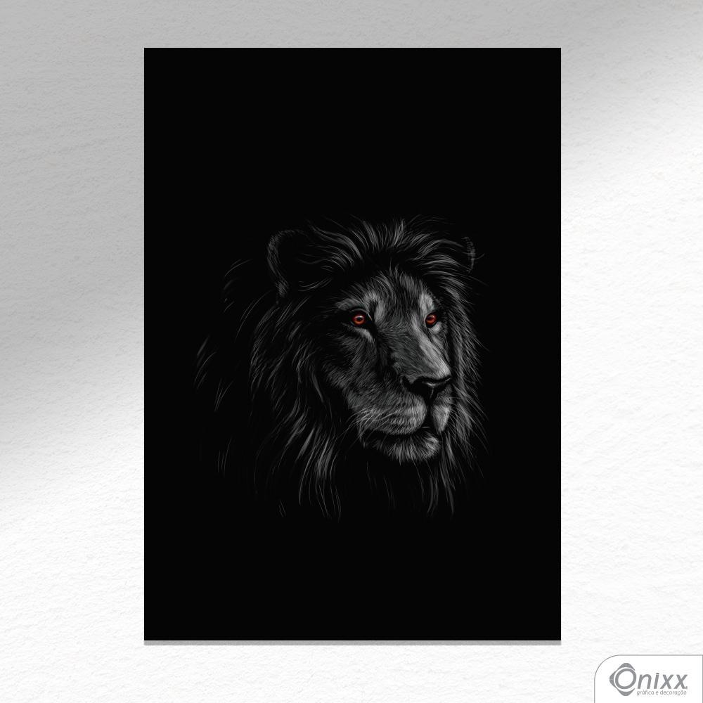 Placa Decorativa Série Animais Black ( Leão ) A4