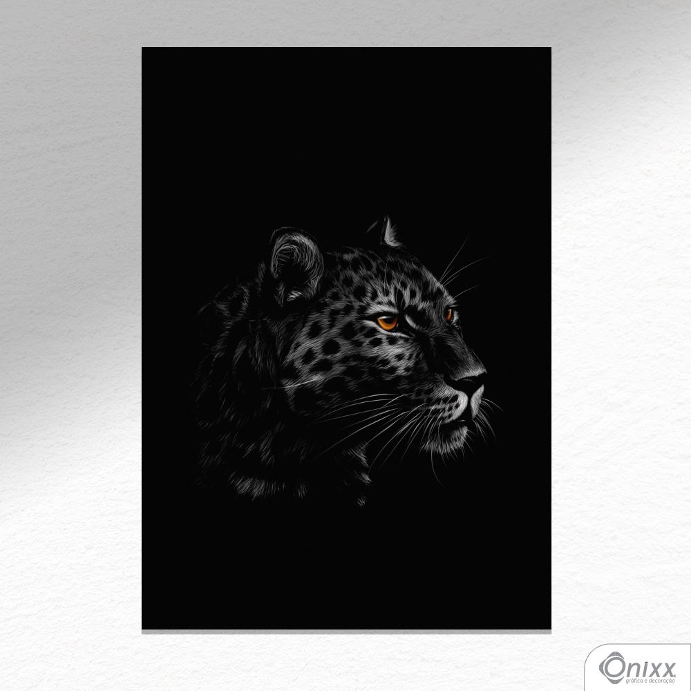 Placa Decorativa Série Animais Black ( Onça ) A4