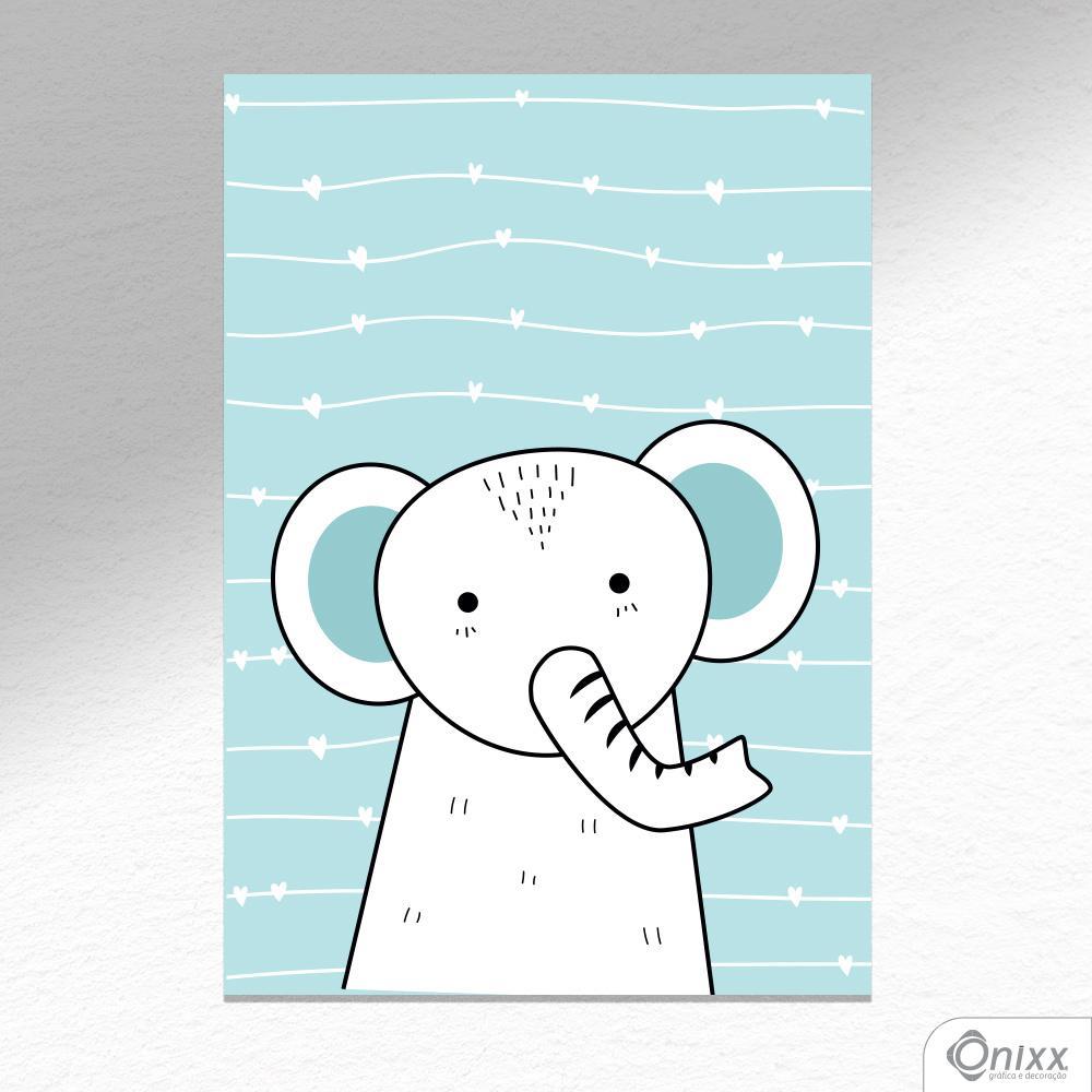 Placa Decorativa Série Animais Fofos ( Elefante ) A4