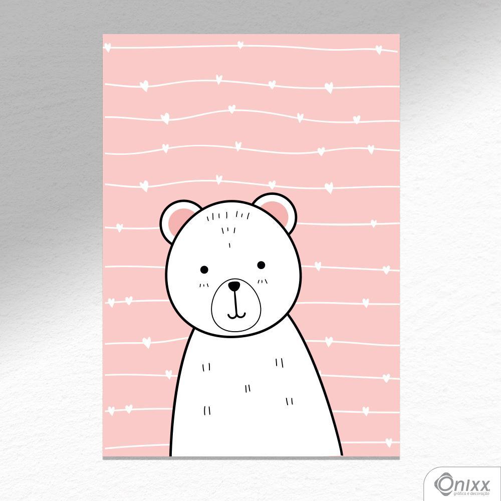 Placa Decorativa Série Animais Fofos ( Urso ) A4