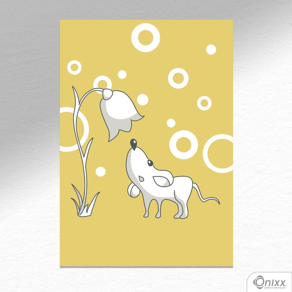 Placa Decorativa Série Animais Tema Amarelo Rato A4
