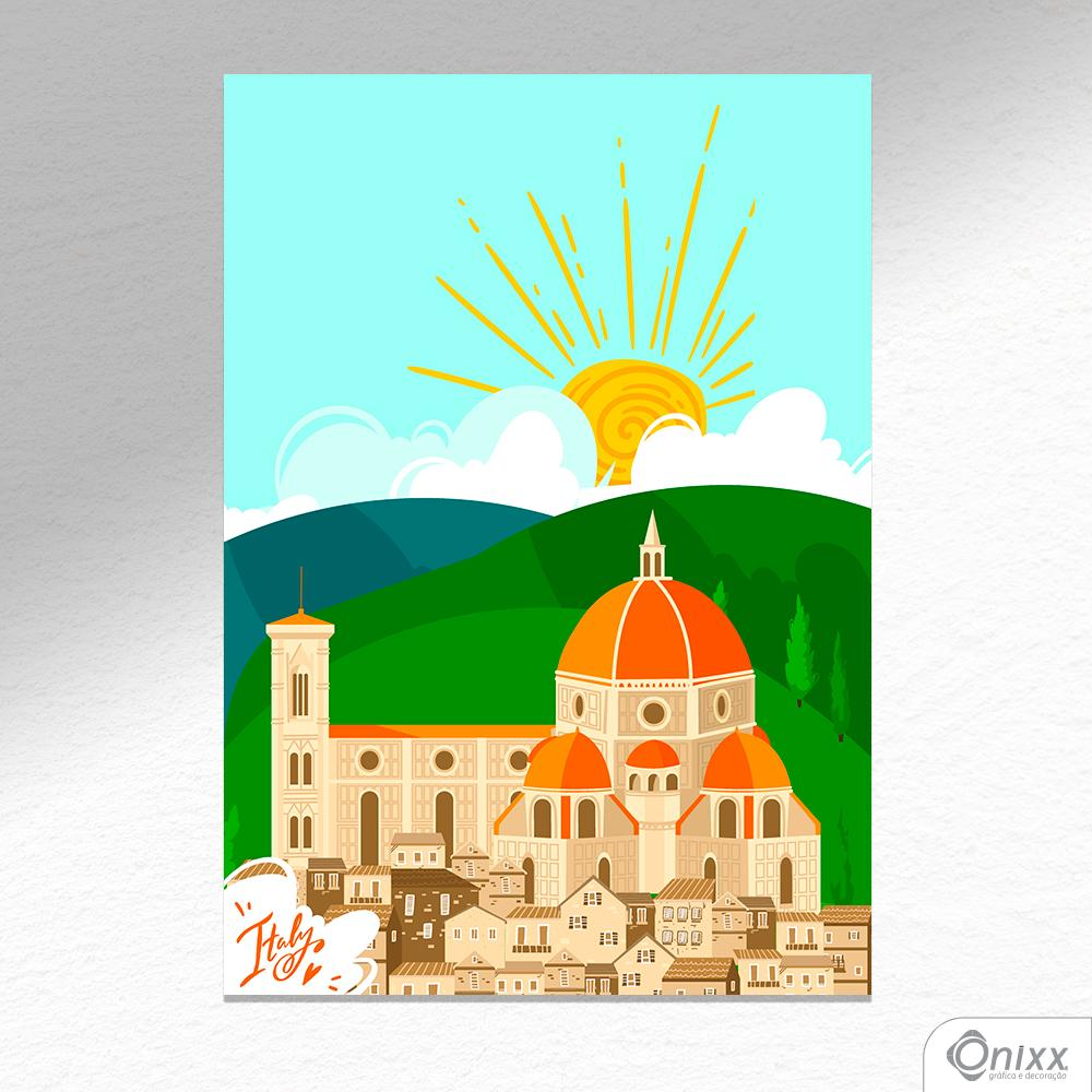 Placa Decorativa Série Love Italy Florence Cathedral A4