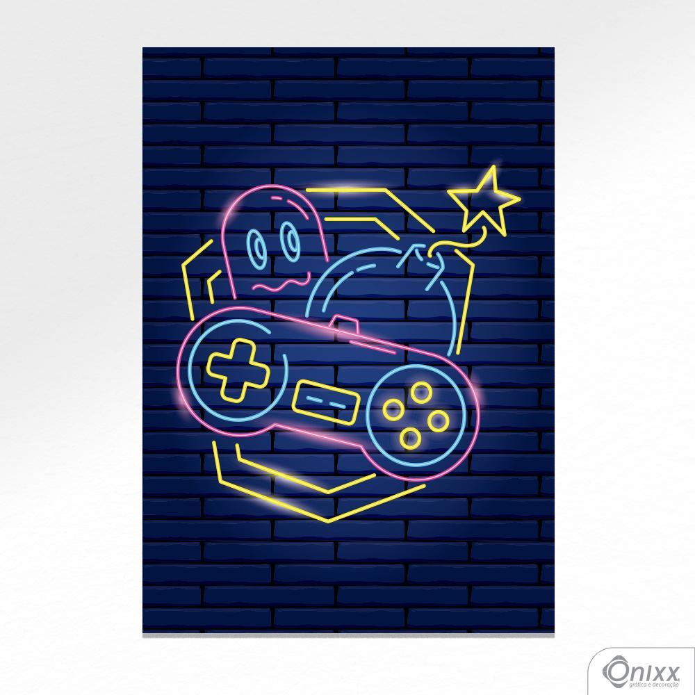 Placa Decorativa Série Neon Classic Joystick A4