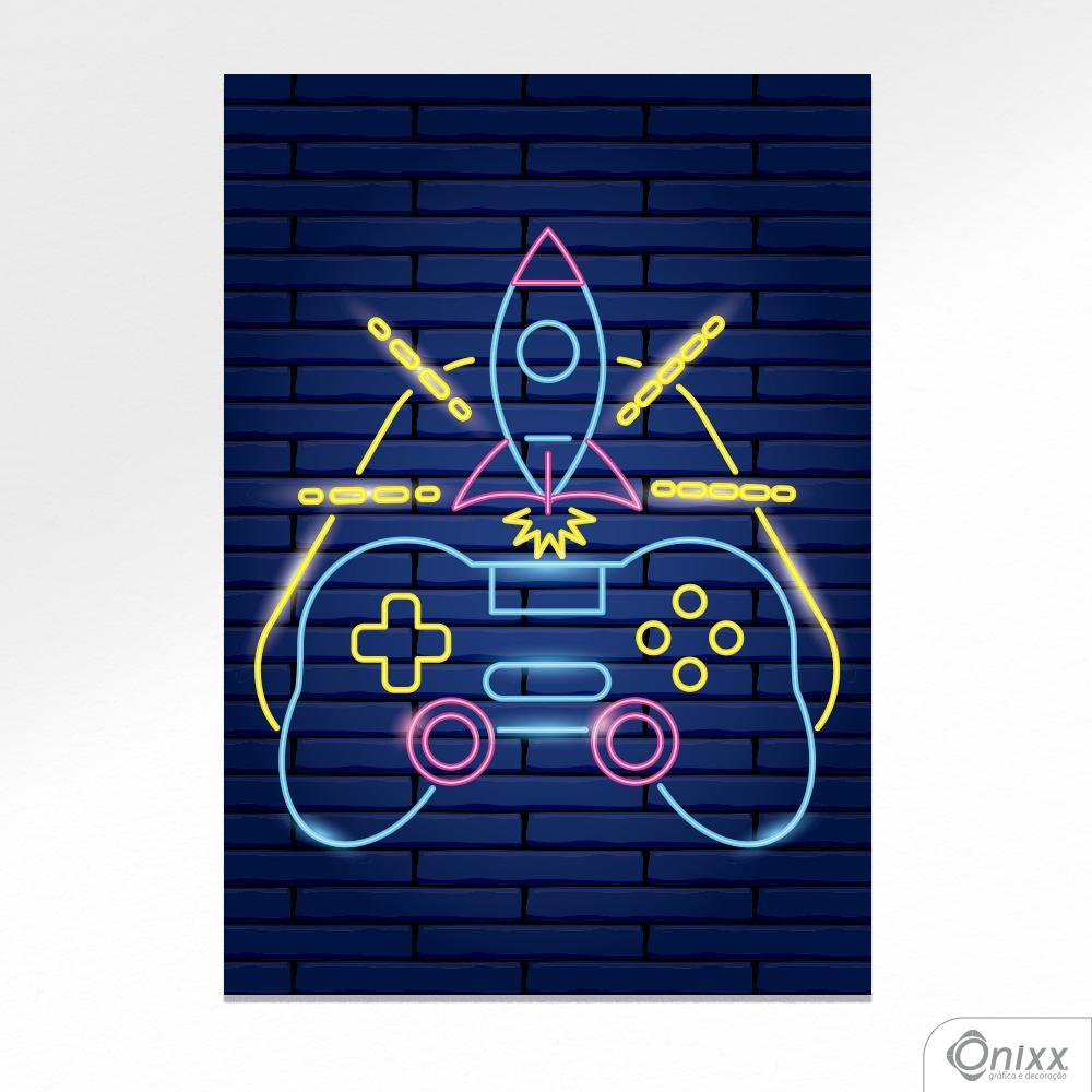 Placa Decorativa Série Neon Modern Joystick A4