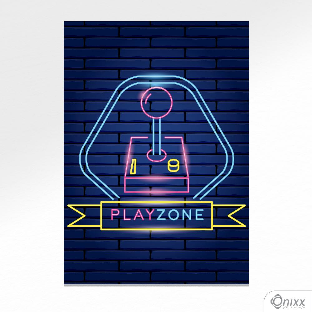 Placa Decorativa Série Neon Play Zone A4