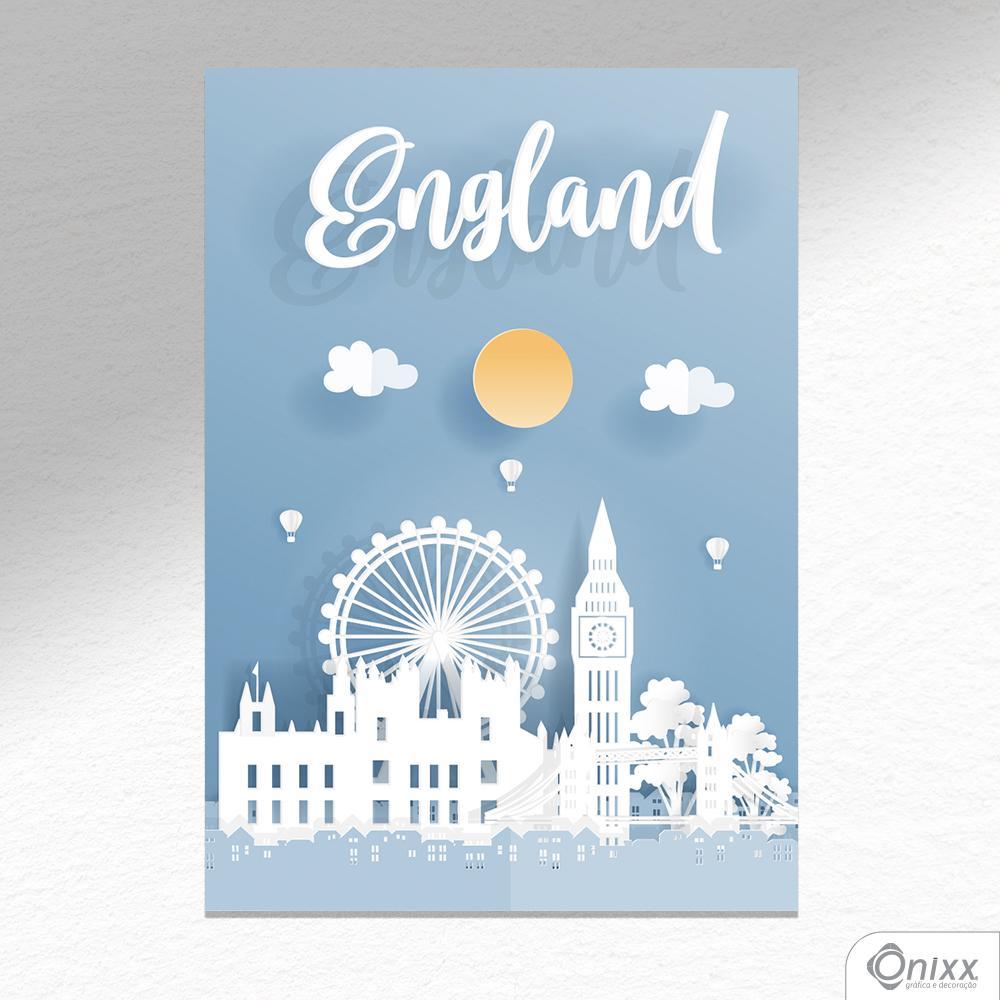 Placa Decorativa Série Papercut England A4