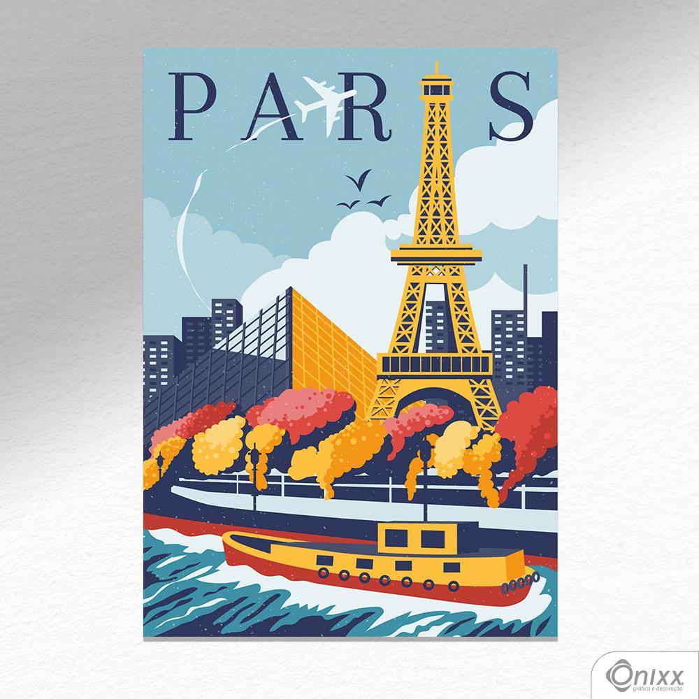 Placa Decorativa Travel To Paris A4