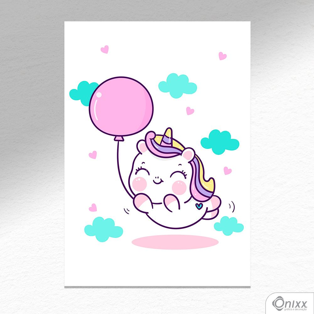 Placa Decorativa Unicorn Balloon A4