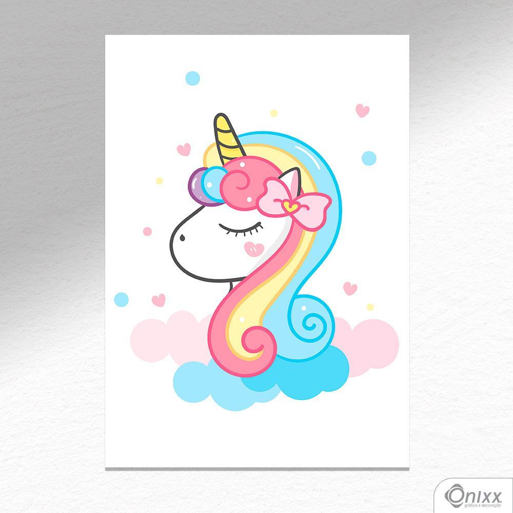 Placa Decorativa Unicorn Cute A4