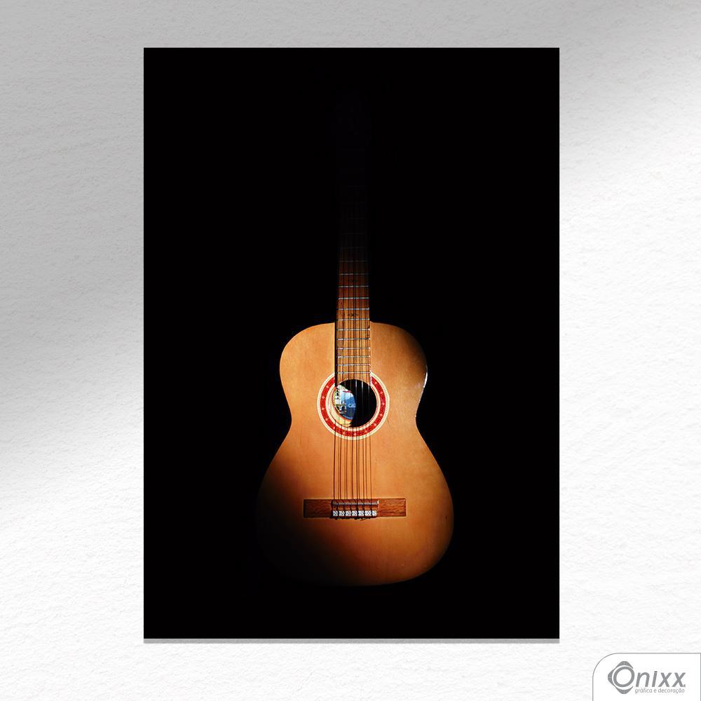 Placa Decorativa Violão Black Theme A4