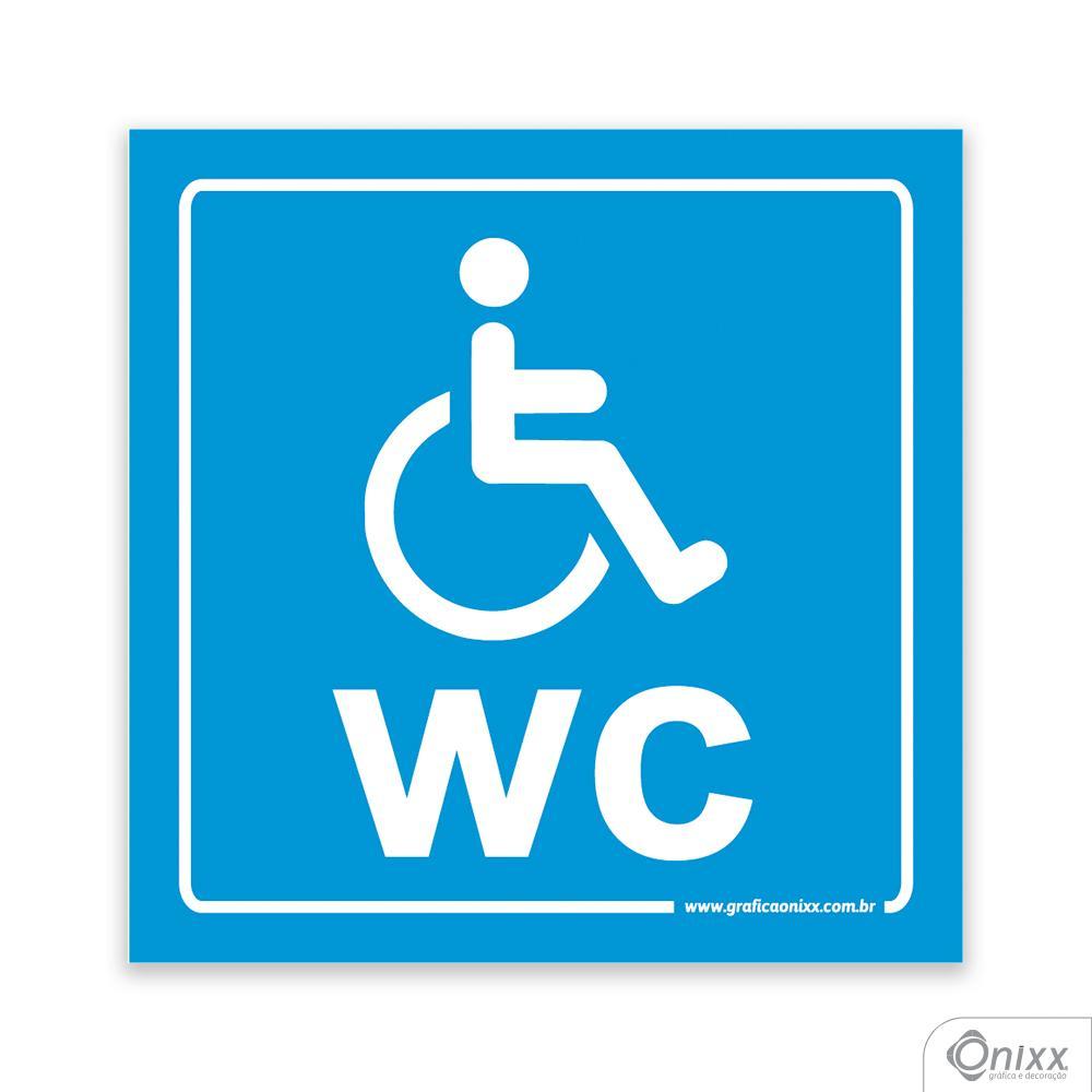 Placa Reservado Para Deficientes ( WC ) Azul